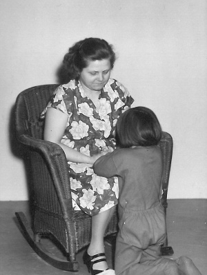 Mom and me praying c1954
