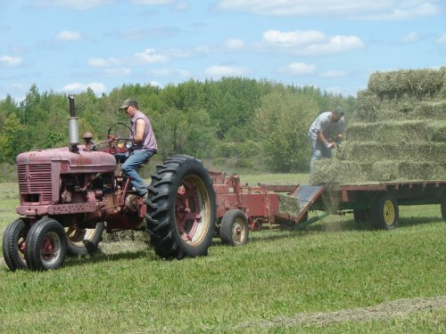 Obviously, that's not me on the tractor - but that's the kind of tractor, baler, and hay wagon we had.