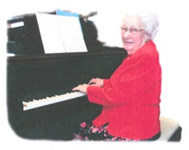 Aunt Edith at the piano.
