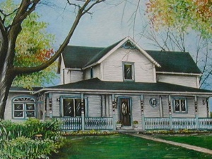 Painting of the farmhouse about ten years ago.