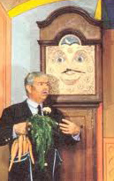 Captain Kangaroo talking with Grandfather Clock.