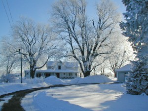 The winter wonderland surrounding the farmhouse