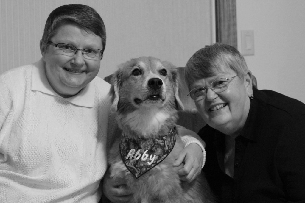 Happy New Year from Marian, Abbey, and Mim. Family portrait compliments of Kevin Korth.