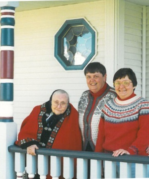Mim's mom (Selma), Mim and me on the front porch