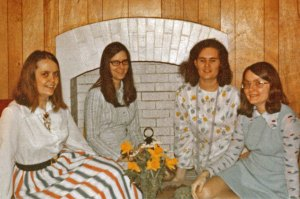 Part of our Bible Study Group. Yes, that's really Mim on the left and me on the right. In the 70s everyone had long hair and weighed less. We wore dresses, too.