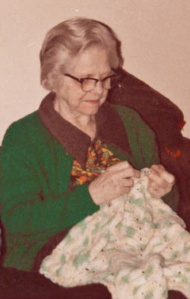 Mom crocheting