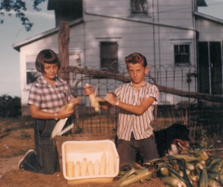 Danny and Marian - husking corn