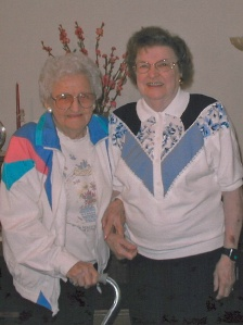 Gladys on right, with her sister Alice