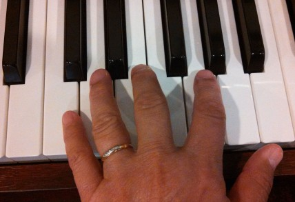 Moms Ring on hand playing piano cropped