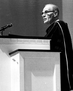Dr. V. Raymond Edman addressing the students of Wheaton College. I was there, sitting in my assigned seat. September 22, 1967