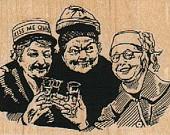 3 ladies drinking - woodcut