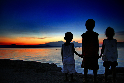 3 children and sunset