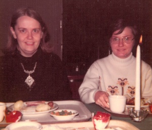Mim and Marian eating lutefisk dinner at St. Olaf College about 40 years ago.
