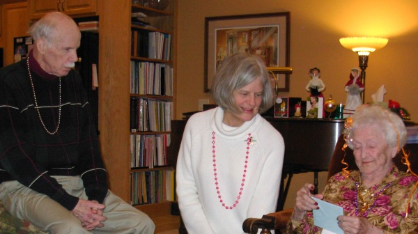 Don and Margaret helping Edith celebrate her 90th birthday in our home in 2011.