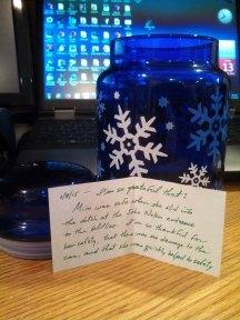 Gratitude jar with note
