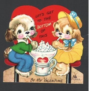 valentine - dogs sipping soda