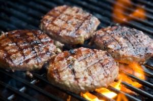 hamburgers on grill