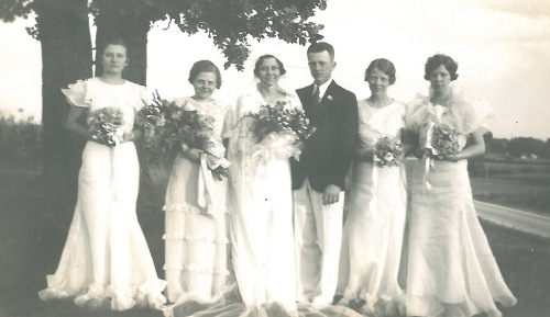 Wedding of Clarice and Joe Vasby. Elsie is standing next to Clarice. Eleanor is on the far right.