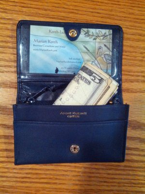 Wallet with $5 in wad