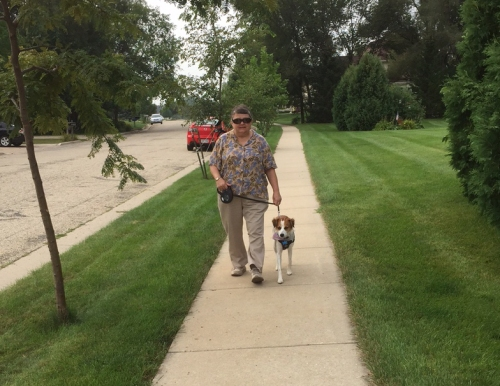 Marian and Floey walking the neighborhood