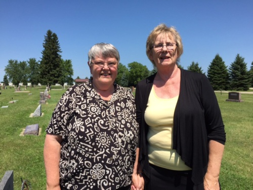 Mim and Pam in cemetery - 2015.