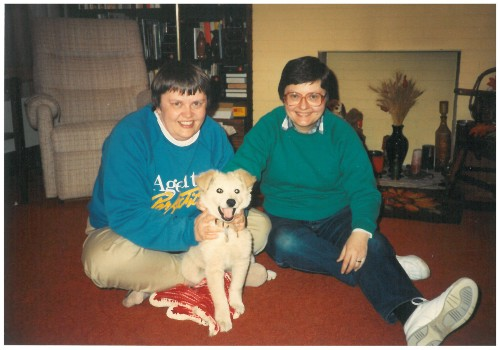 Mim and Marian with Megabyte - our first puppy - in our living room in Chicago.