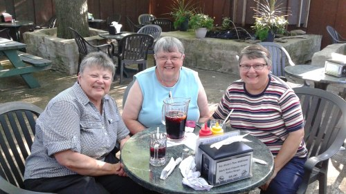 Marilyn, Mim, and Marian in the Beer Garden of Moody's Pub - 2015.