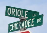 Oriole and Chickadee street signs