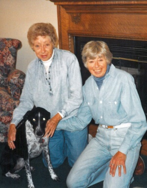 Ruth (left) and her sister Elaine and their first dog Jenny, visiting us in our farmhouse just after we moved from Chicago to the farm in 1992.