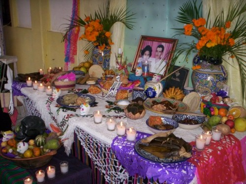 An altar set up in a Mexican home for celebrating Dia de los Muertos