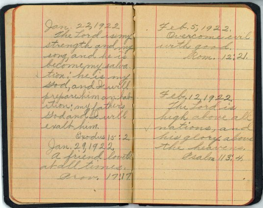 Moms Memorandum Book - Jan 29 1922